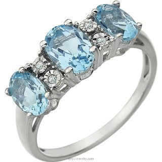 Blue Topaz 14K White Gold Gemstone and .02 CTW Diamond Ring