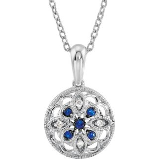 "Sterling Silver Blue Sapphire & .03 CTW Diamond 18"" Necklace"