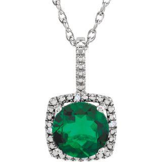 "Emerald Sterling Silver 7mm Gemstone .015 CTW Diamond 18"" Necklace"