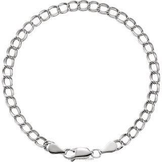Sterling Silver Solid Charm Bracelet