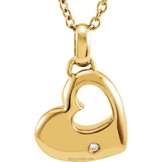 "Gold Plated .01 CTW Diamond 18"" Double Heart Necklace"