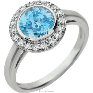 Light Blue Sterling Silver Cubic Zirconia Ring