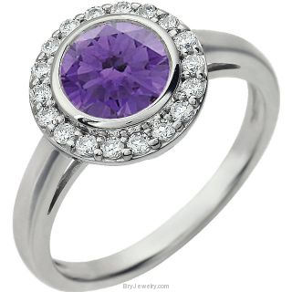 Purple Sterling Silver Cubic Zirconia Ring