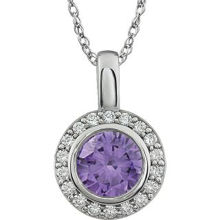 "Purple Sterling Silver Cubic Zirconia 18"" Necklace"