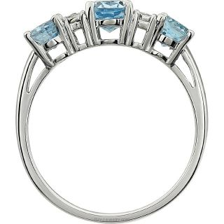 Side View Blue Topaz 14K White Gold Gemstone and .02 CTW Diamond Ring