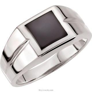 14K White Men's Genuine Onyx Ring