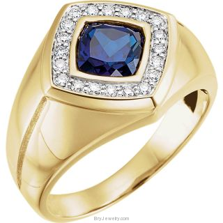 14K Yellow Men's Sapphire Diamond Ring