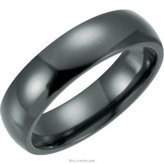 Men's Black Domed Titanium Ring