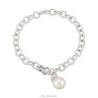 Sterling Silver Bracelet with White Cultured Pearl