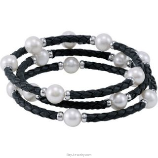 Freshwater Cultured Pearl Wrap Leather Bracelet