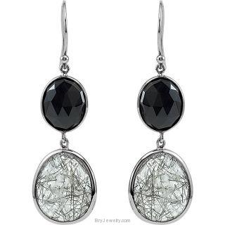 Genuine Onyx and Tourmalinated Quartz Earrings