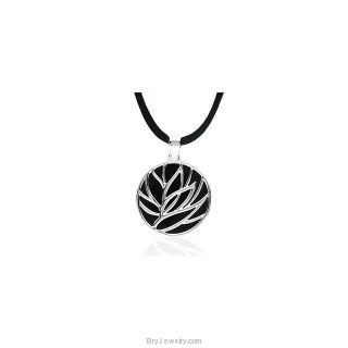 Sterling Silver Onyx Necklace with Black Silk Cord