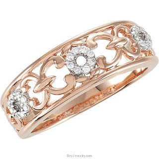 Diamond 1/10 CTW Rose PL Design Ring
