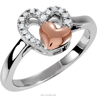 Diamond 1/10 ct TW Double Heart Design Ring