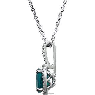 "Sterling Silver 7mm Gemstone .015 CTW Diamond 18"" Necklace"