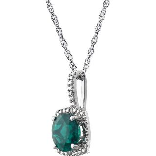 "Sterling Silver 7mm Gemstone .015 CTW Diamond 18"" Necklace"