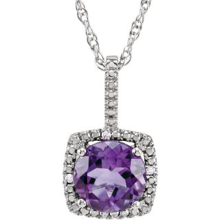 "Amethyst Sterling Silver 7mm Gemstone .015 CTW Diamond 18"" Necklace"