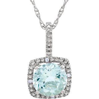 "Aquamarine Sterling Silver 7mm Gemstone .015 CTW Diamond 18"" Necklace"