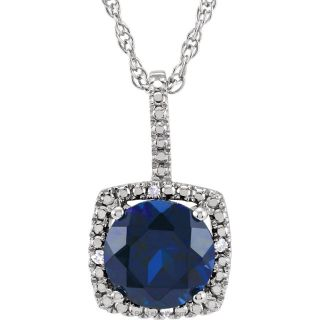 "Blue Sapphire Sterling Silver 7mm Gemstone .015 CTW Diamond 18"" Necklace"