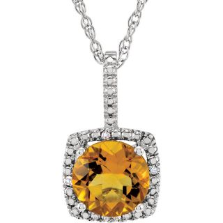 "Citrine Sterling Silver 7mm Gemstone .015 CTW Diamond 18"" Necklace"