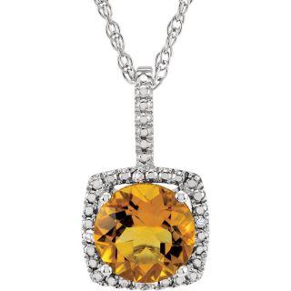 "Citrine Sterling Silver 7mm Gemstone .015 CTW Diamond 18"" Necklace"