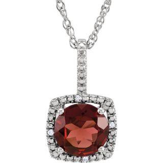 "Mozambique Garnet Sterling Silver 7mm Gemstone .015 CTW Diamond 18"" Necklace"