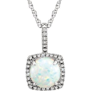 "Opal Sterling Silver 7mm Gemstone .015 CTW Diamond 18"" Necklace"