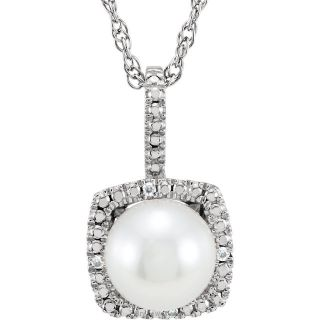 "Pearl Sterling Silver 7mm Gemstone .015 CTW Diamond 18"" Necklace"