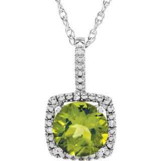 "Peridot Sterling Silver 7mm Gemstone .015 CTW Diamond 18"" Necklace"