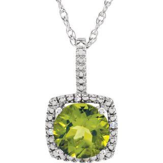 "Peridot Sterling Silver 7mm Gemstone .015 CTW Diamond 18"" Necklace"