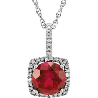 "Ruby Sterling Silver 7mm Gemstone .015 CTW Diamond 18"" Necklace"