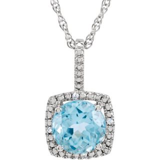 "Sky Blue Topaz Sterling Silver 7mm Gemstone .015 CTW Diamond 18"" Necklace"