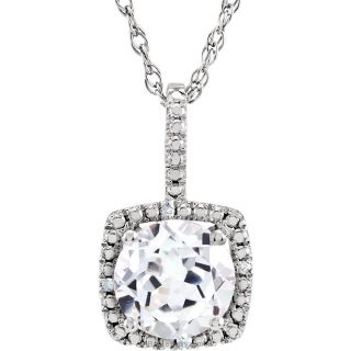 "White Sapphire Sterling Silver 7mm Gemstone .015 CTW Diamond 18"" Necklace"
