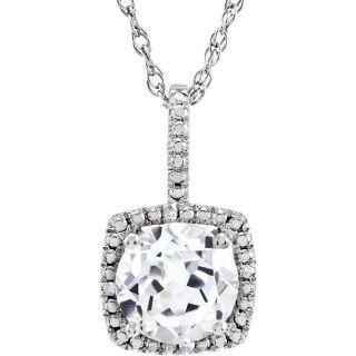 "White Sapphire Sterling Silver 7mm Gemstone .015 CTW Diamond 18"" Necklace"
