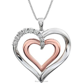 ".06 CTW Diamond Heart 18"" Sterling Silver Necklace"