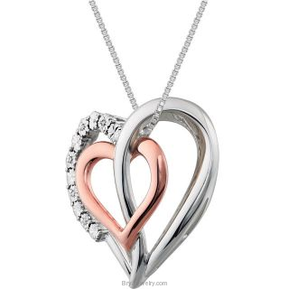 ".03 CTW Diamond Heart 18"" Sterling Silver Necklace"