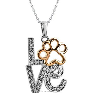 Tender Voices .05 ct tw Diamond Love Animal Paw Print Necklace