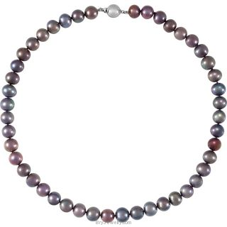 Sterling Silver Freshwater Cultured Black Pearl Necklace