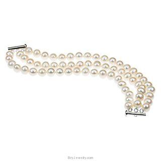 White Freshwater Cultured Pearl Triple Strand Bracelet