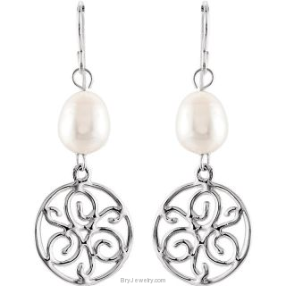 Sterling Silver White Freshwater Cultured Pearl Earrings