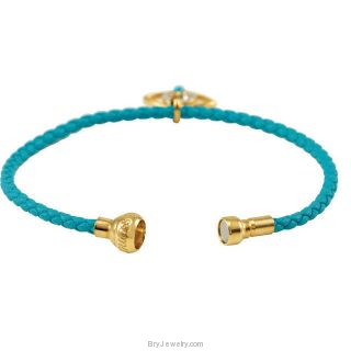 18KY Vermeil Leather Rope Bracelet CZ Charm