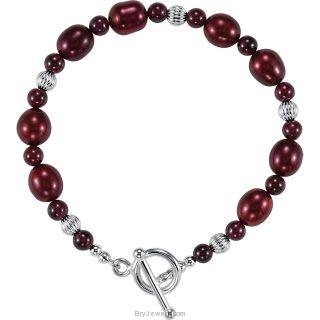 Rhodolite Garnet Dyed Pearl Toggle Bracelet
