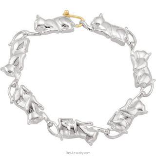 Sterling Silver Cat Bracelet