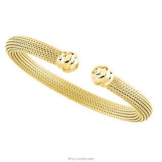 14K Yellow Gold /Sterling Silver 6.5mm Hollow Mesh Cuff Bracelet