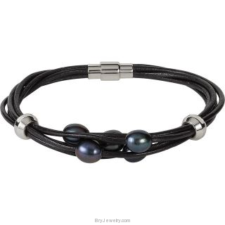Leather Multi Strand Bracelet with Magnetic Clasp