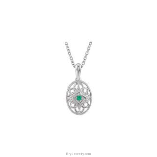 Emerald Sterling Silver Oval Style with Gemstone Necklace