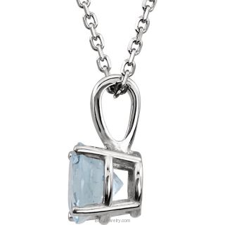"14K White 6mm Genuine Aquamarine 18"" Necklace"