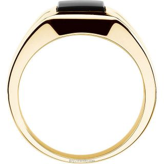14K Yellow Men's Genuine Onyx Ring