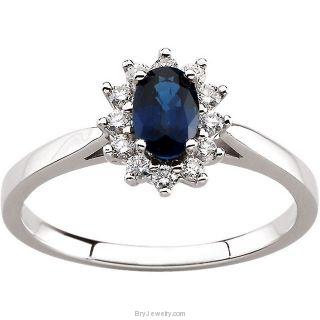 14K White Oval Blue Sapphire Diamond Ring