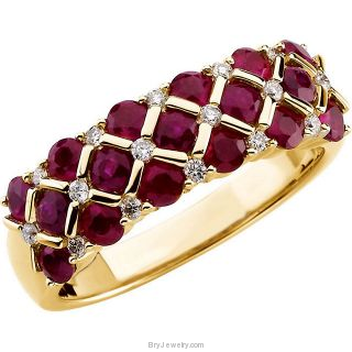 14K Yellow Gold Ruby 1/6 CTW Diamond Ring